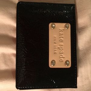 Kate Spade Card Holder - fabric with leather trim